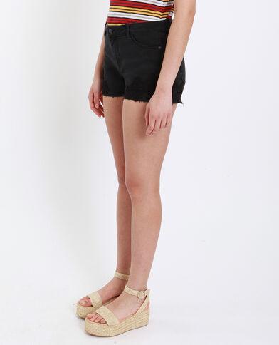 Short mid waist brodé noir