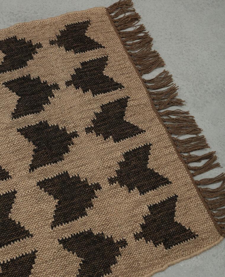tapis jute ethnique cru - Tapis En Jute