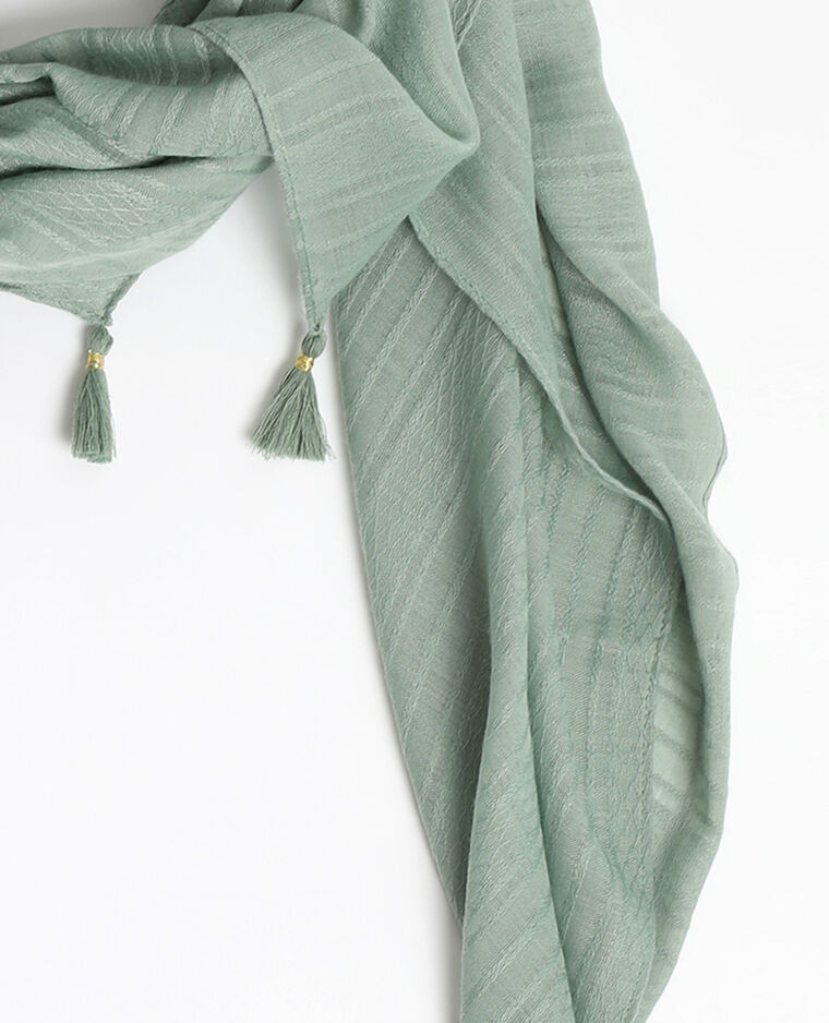 Echarpe fine à pompons vert