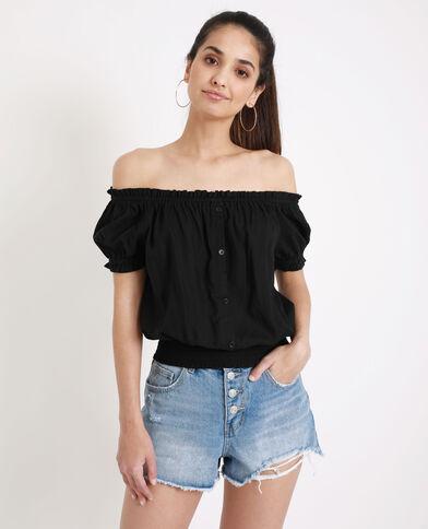 Overhemd met bardothals zwart