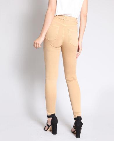 Skinny broek met hoge taille zandbeige