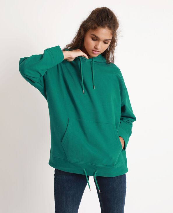 Oversized sweater met kap groen