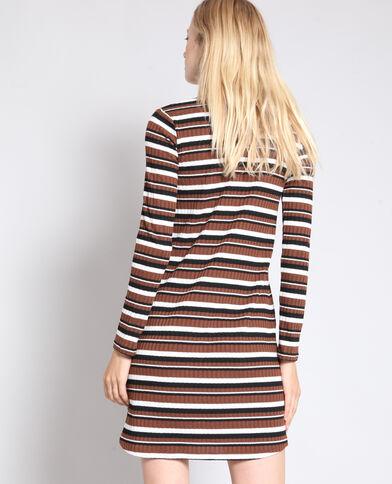 Gestreepte trui-jurk kastanjebruin