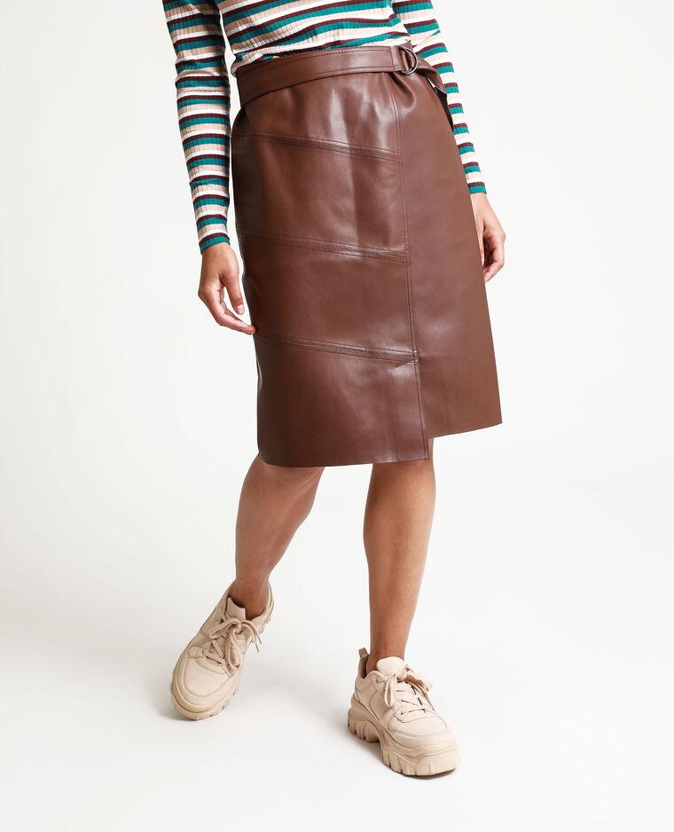 Jupe en simili cuir chocolat