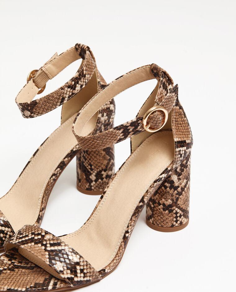 Sandalen van nep pythonslangenleer geweven beige