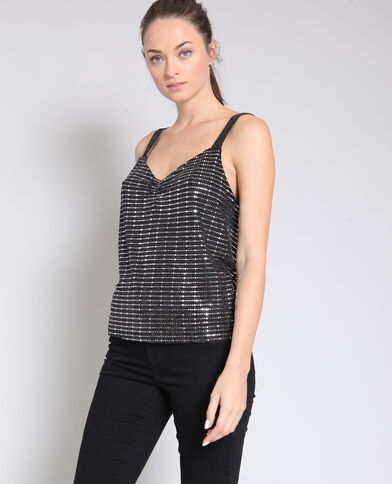 Top à sequins noir