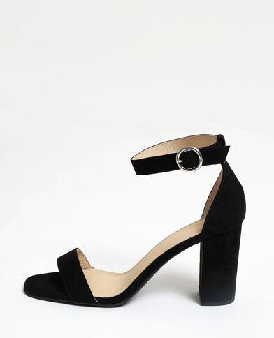 Sandalen met hakken van microvezel zwart
