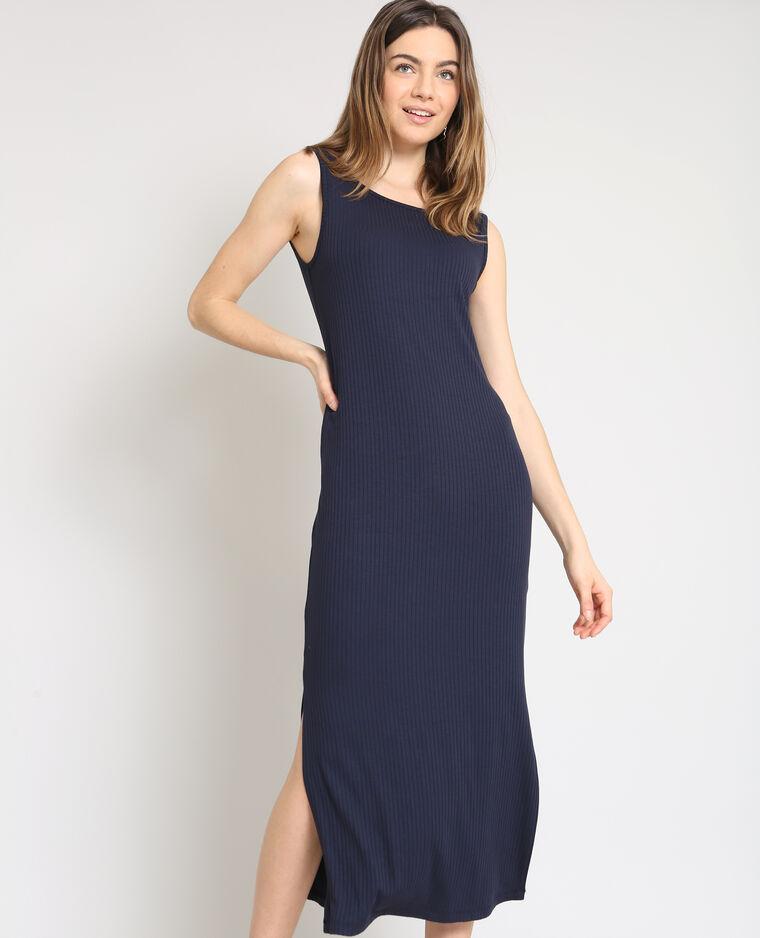 Robe longue moulante bleu marine -25% - 780885B03A06   Pimkie 6a7c519f6c0c