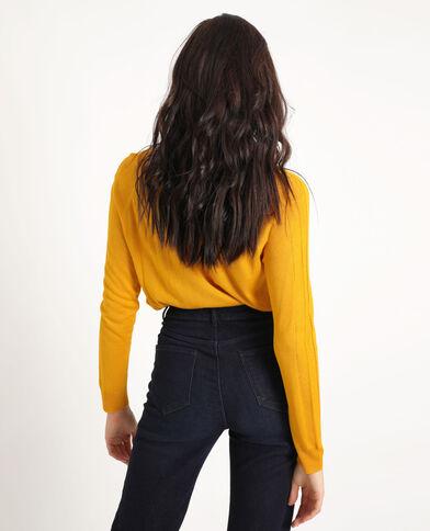 Dunne trui met V-hals geel