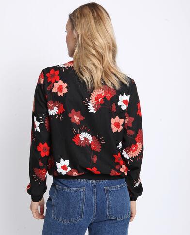 Bomber fluide fleuri Noir