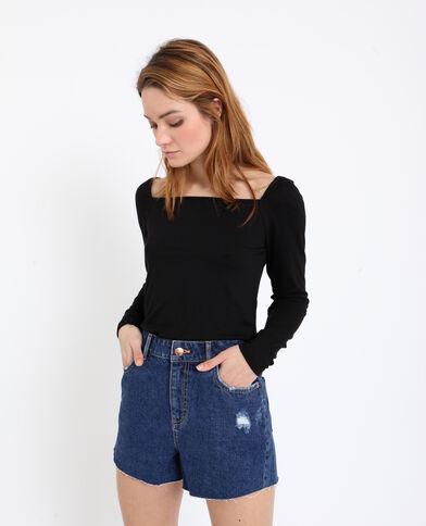 T-shirt met vierkante hals zwart