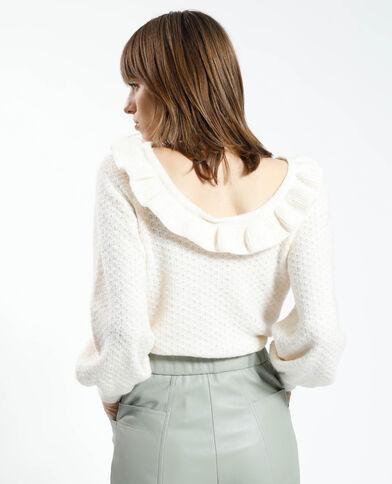 Opengewerkte trui met ruchehals wit - Pimkie