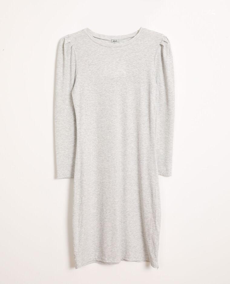Robe moulante manches bouffantes gris chiné