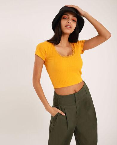 Cropped T-shirt met kant geel