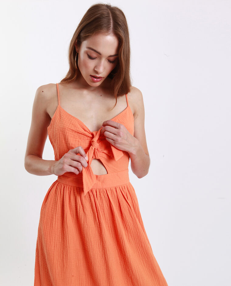 Jurk met strikje op de borst oranje