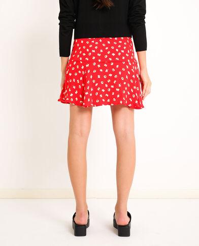 Jupe short à fleurs rouge