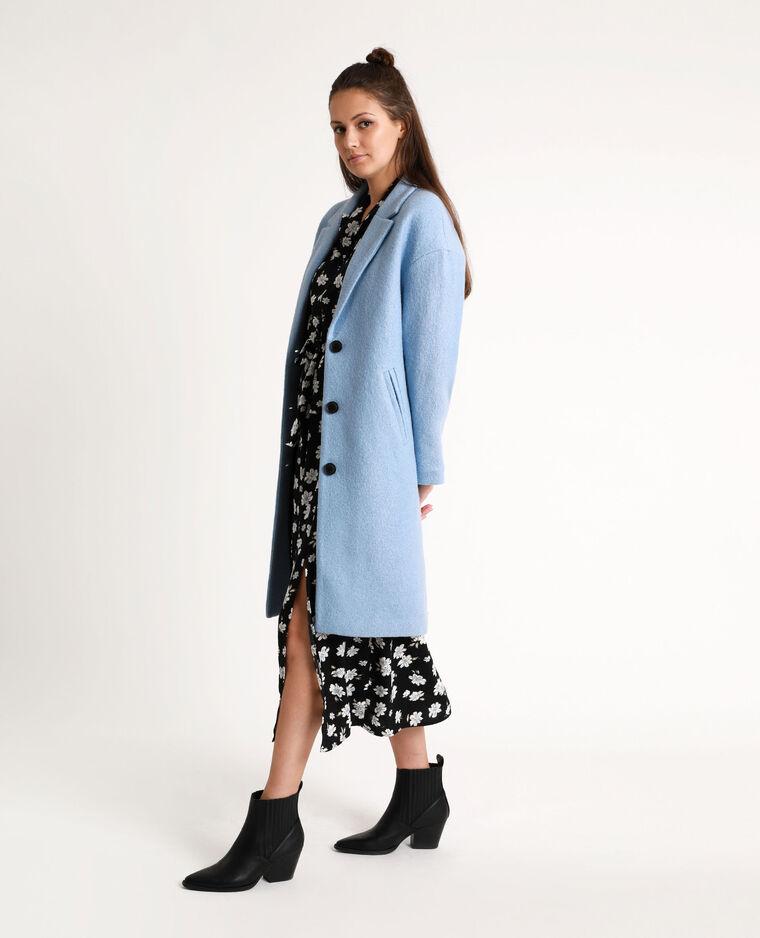 Manteau long avec laine bleu clair