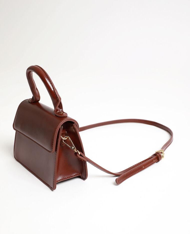 Mini sac en faux cuir marron