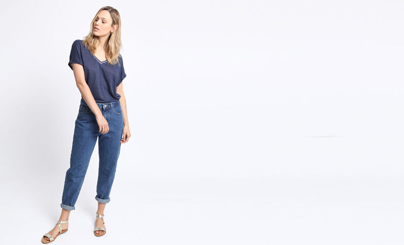T-shirt met V-hals marineblauw