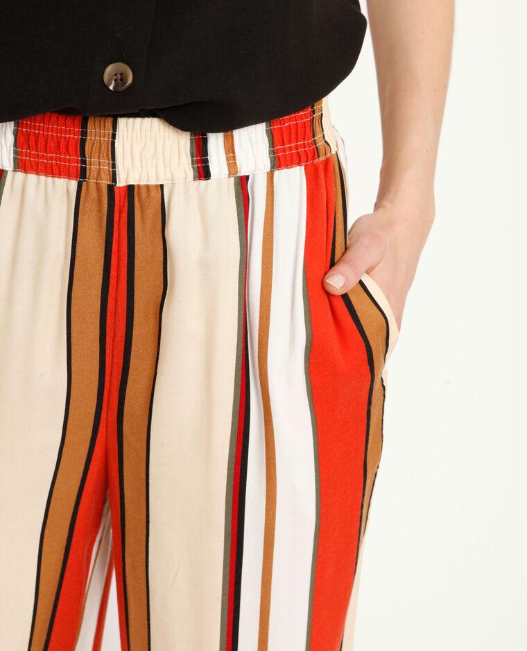 Pantalon fluide à rayures Camel