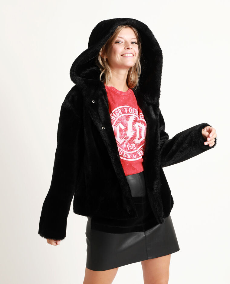 Korte jas van nepbont zwart