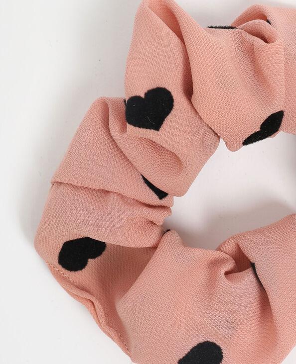 Scrunchie met hartjes roze