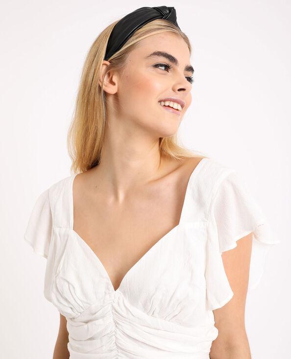 Shirt met open rug gebroken wit