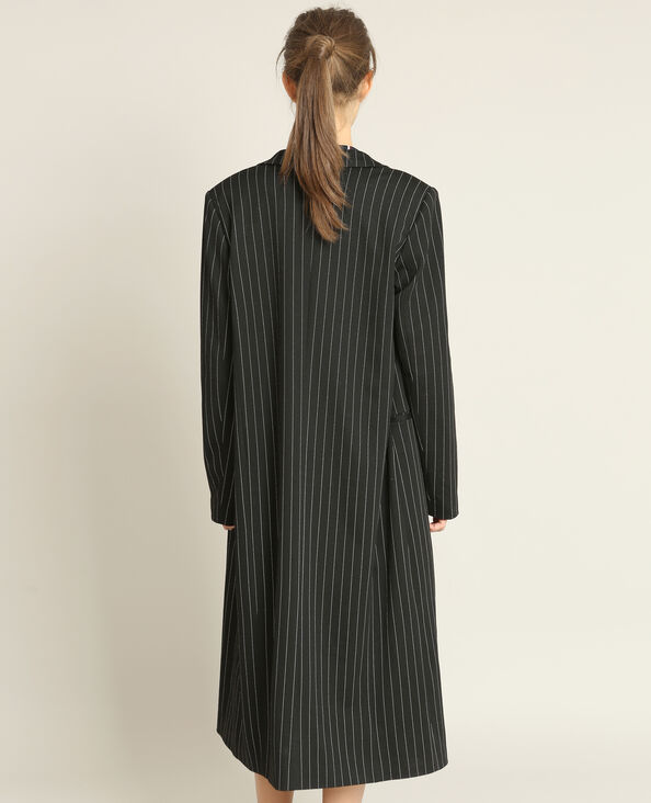 Lange mantel met strepen zwart