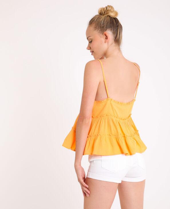 Topje met ruches en dunne schouderbandjes oranje