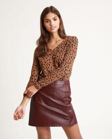 T-shirt met luipaardprint kastanjebruin