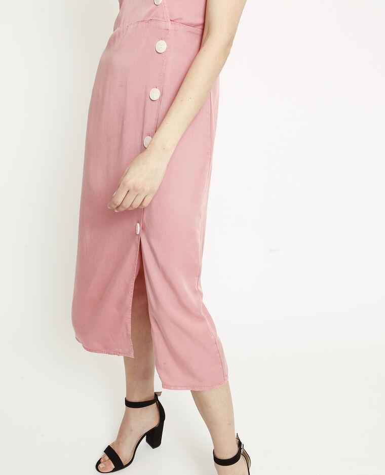 Robe longue à boutons rose