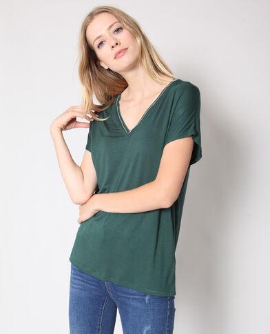 T-shirt met V-hals groen