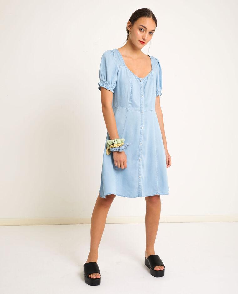 Robe fluide boutonnée bleu clair