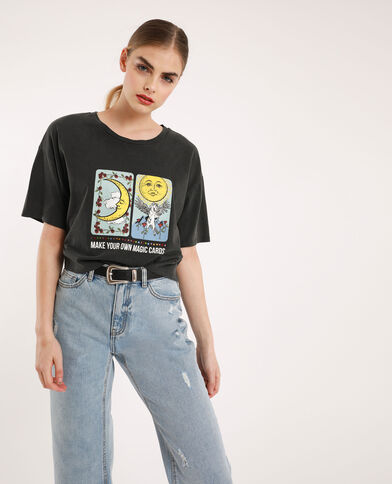 Cropped T-shirt antracietgrijs