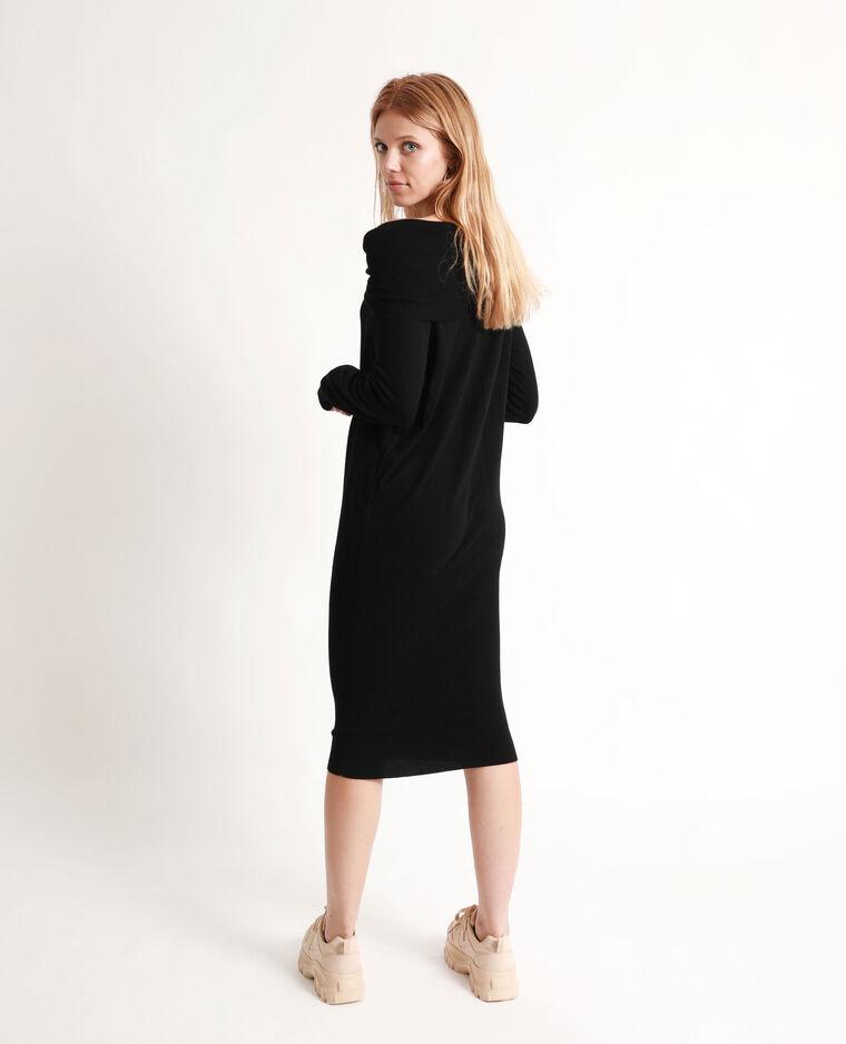 Robe pull à col châle noir