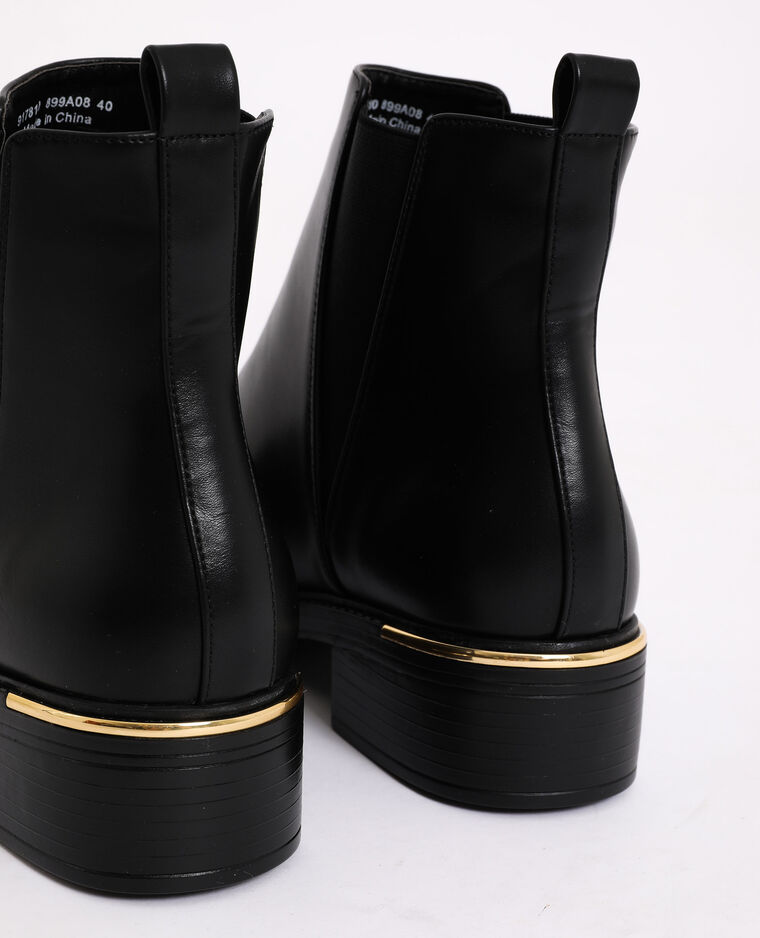 Bottines en simili cuir noir