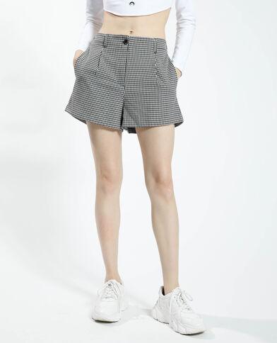 Short taille haute à motifs pied-de-poule noir - Pimkie