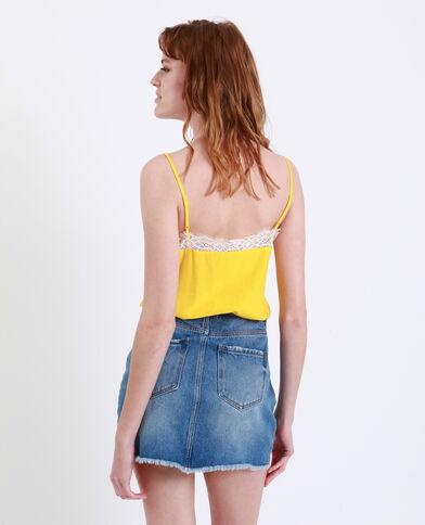 Topje met kant geel
