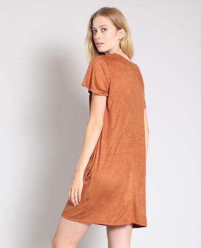 Suèdine jurk karamel