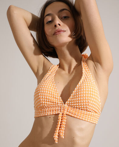 Haut de maillot triangle à carreaux texturé orange