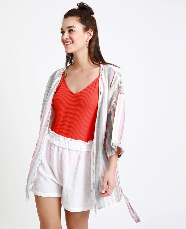 Kimono de plage rose