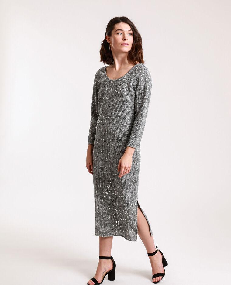 Robe à sequins gris argenté