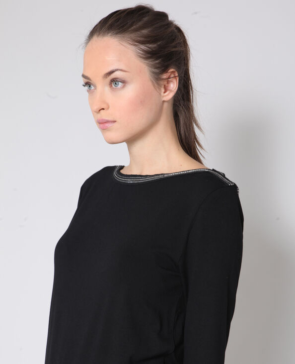T-shirt met sieraden zwart