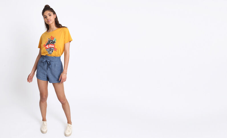 T-shirt Frida Kahlo jaune