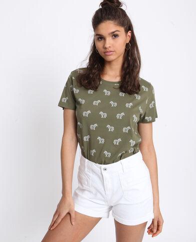 T-shirt à imprimé kaki