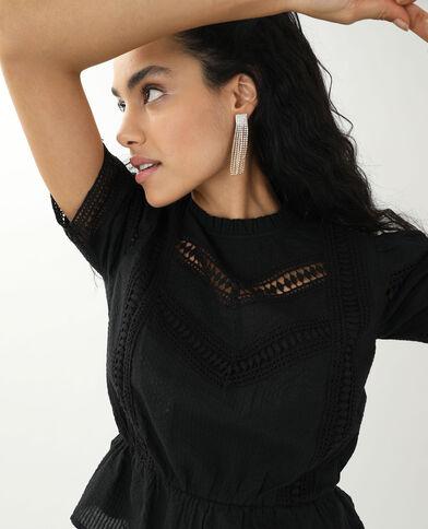 Opengewerkte blouse zwart