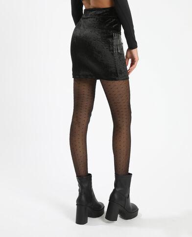 Korte rok met stras zwart - Pimkie
