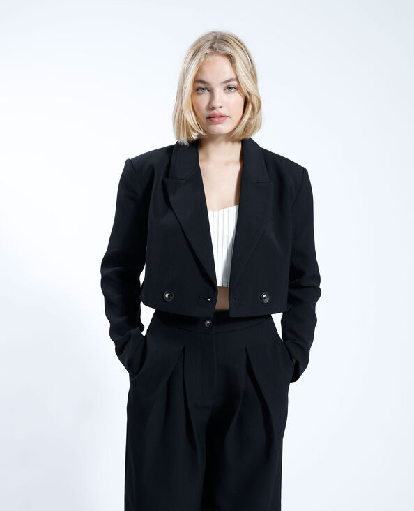 Oversized en cropped blazer zwart - Pimkie