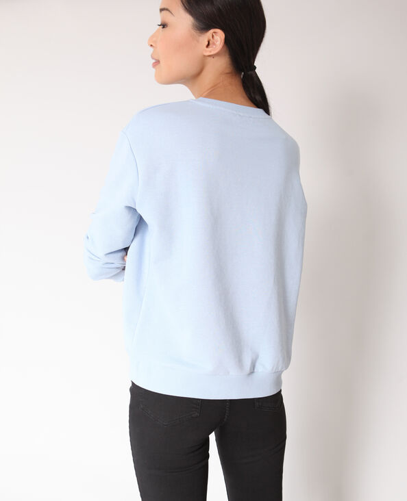Sweater met borduursels hemelsblauw