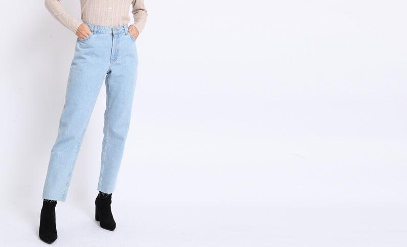 Jean droit mid waist bleu